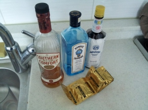 Magnums and gin for him, SoCo for me.