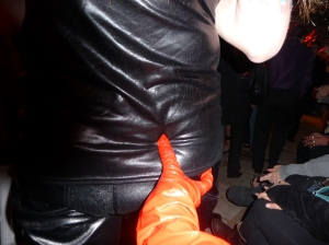 I just love the way my vinyl gloves look grabbing his butt in leather pants.
